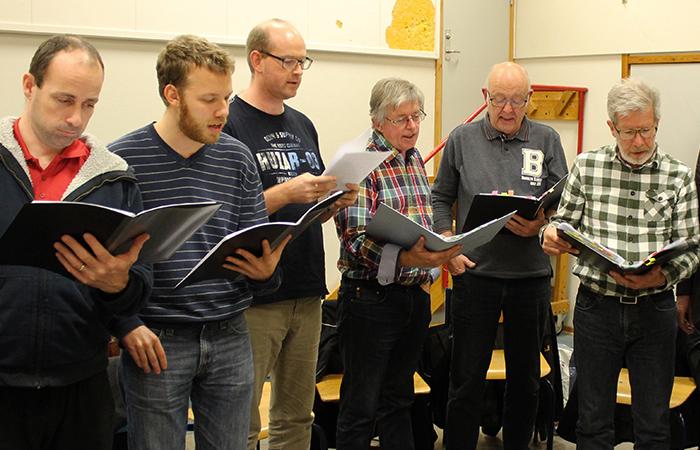 Mænd synger i kor